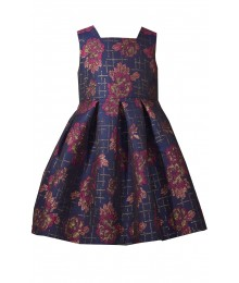 Bonnie Jean Blue Wt Purple/Gold Floral Petals Back Bow Open Back Pleated Dress