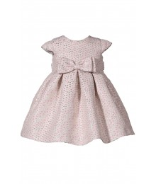 Bonnie Jean Gold/Pink Dotted Waist Bow Pleated Brocade Dress