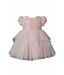 Bonnie Jean Blush/Gold Netted Top Beaded Waist Fairy Hem Ballerina Dress
