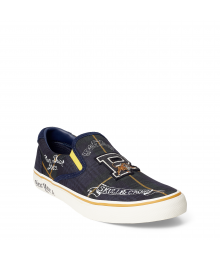 "Polo Ralph Lauren Navy/Green/Yellow ""P"" Cheetah Sneaker - Adult Size"