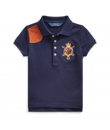Polo Ralph Lauren Navy Blue With Brown Leather Patch Girls Polo Shirt  Little Girl