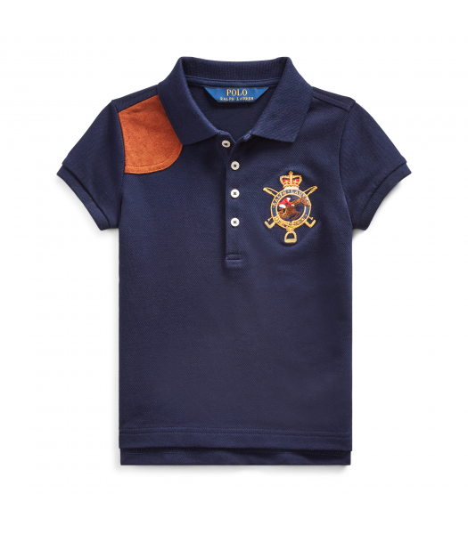 Polo Ralph Lauren Navy Blue With Brown Leather Patch Girls Polo Shirt