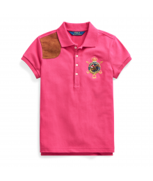 Polo Ralph Lauren  Pink With Brown Leather Patch Girls Polo Shirt
