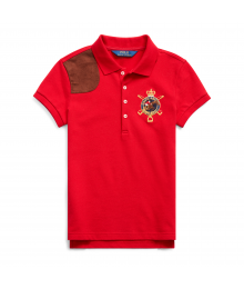 Polo Ralph Lauren Red With Brown Leather Patch Girls Polo Shirt