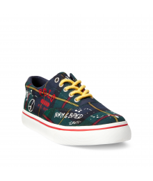 Polo Ralph Lauren Navy/Green/Tartan/Plaid White Splash Sneaker  Shoes