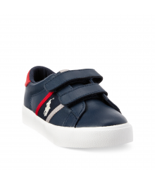 Polo Ralph Lauren Blue With Red Strips 2 Strap Leather Polo Sneaker