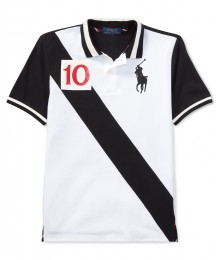 Polo Ralph Lauren White Wt Black Diagonal And Black Back Polo Shirt