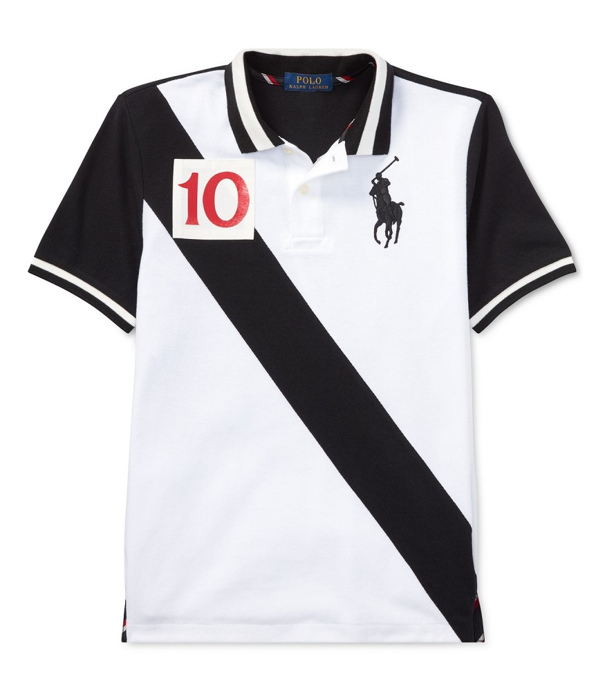 promo codes factory outlet get online Polo Ralph Lauren White Wt Black Diagonal And Black Back Polo Shirt