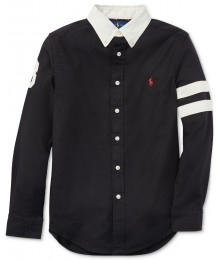 Polo Ralph Lauren Black With Cream Collar And Double Stripe Armband