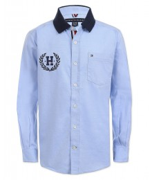 Tommy Hilfiger Blue Polo Collar Crest On Back L/S Shirt