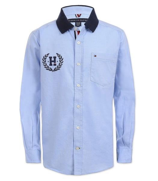 Tommy Hilfiger Blue Polo Collar Crest On Back L/S Shirt  Little Boy