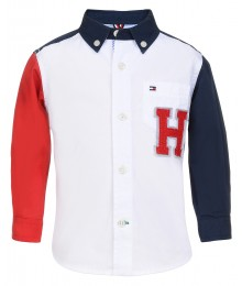 Tommy Hilfiger White/Red/Blue L/S Coloe Block Shirt