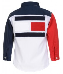 Tommy Hilfiger White/Red/Blue L/S Coloe Block Shirt  Big Boy
