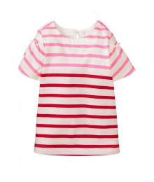 Crazy 8 White With Pink And Red Horizontal Stripes Ruffle Shoulder Tee
