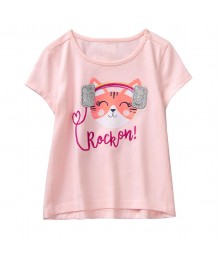Gymboree Pink Cat With Earphones Rock On Tee