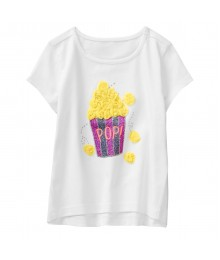 Gymboree White Popcorn Tee Little Girl