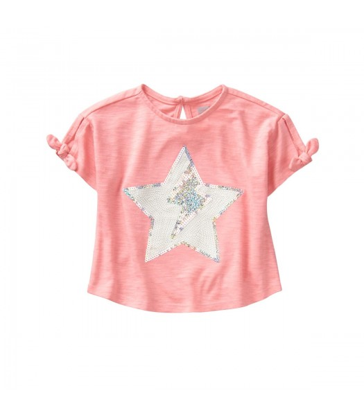 Crazy 8 Pink Sparkle Star Cropped Tee