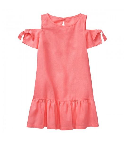 Crazy 8 Pink Cold Shoulder Linen Like Dress