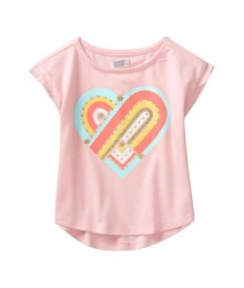 Crazy 8 Pink Sparkle Heart Tee