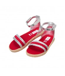 Crazy 8 Silver / Red Metallic  Espadrille Sandals