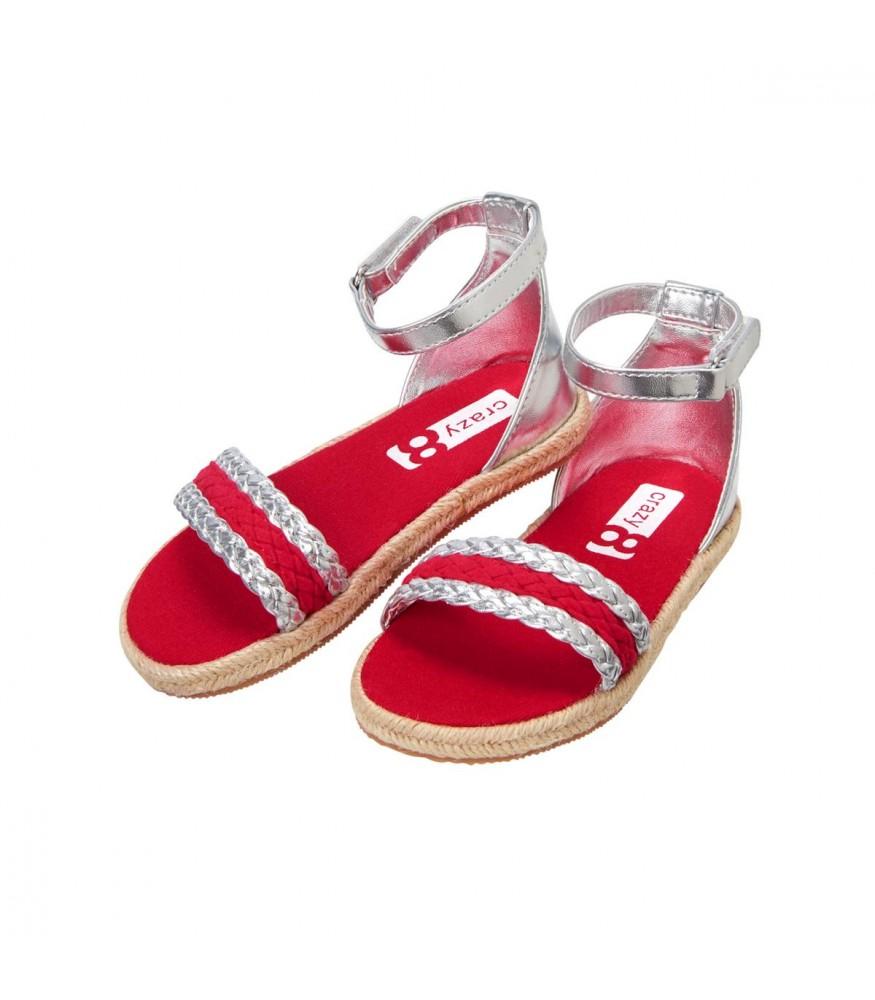 Sandals Red 8 Metallic Espadrille Crazy Silver sQdChrt