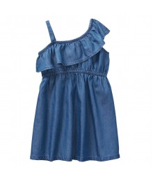 Crazy 8 Blue Chambray Ruffle Dress With 1 Shoulder Spag Strap