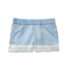 Crazy 8 Blue Chambray Crochet Trim Shorts