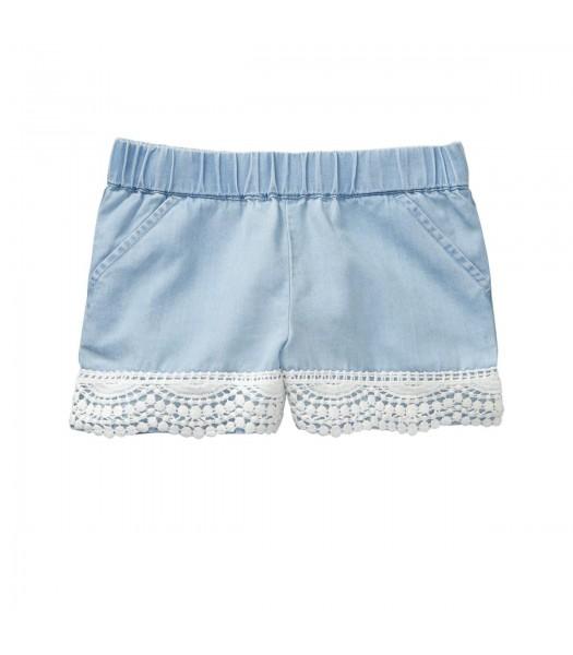 Crazy 8 Blue Chambray Crochet Trim Shorts