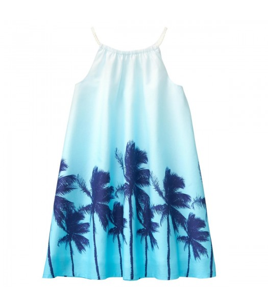 Crazy 8 Blue Beach Palm 2 Tone Dress  Little Girl