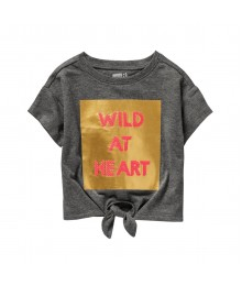 Crazy 8 Dark Grey Wild At Heart Tie Front Tee