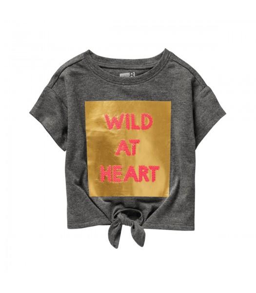 Crazy 8 Dark Grey Wild At Heart Tie Front Tee