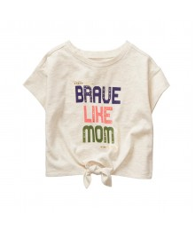 Crazy 8 Grey Brave Like Mum Tie Front Tee