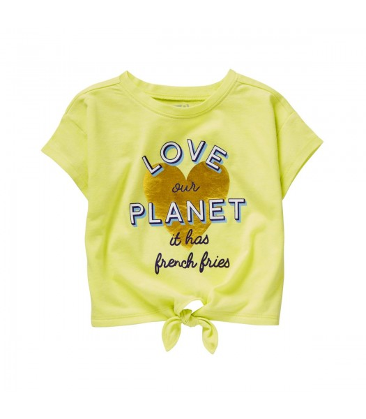 Crazy 8 Lemon Green Love Our Planet Tie-Front Heart Tee