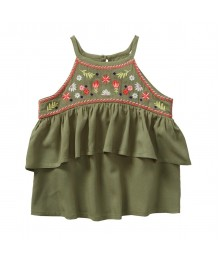 Crazy 8 Olive Green Embroidered Ruffle Top