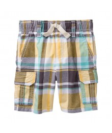 Gymboree White Multi Plaid Cargo Shorts
