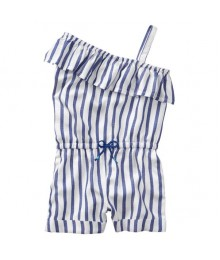 Gymboree White With Blue Stripes Romper
