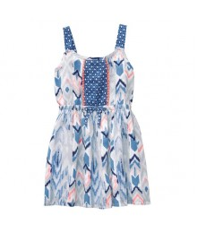 Gymboree Tidal Blue Wt Pink Side Embroidery Dress