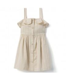 Gymboree Cream Button Front Spaghetti Strap Dress