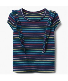 Gymboree Dark Navy Glitter Horizontal Stripe Tee Little Girl