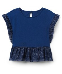 Crazy 8 Navy Sparkle Tulle Trim Top
