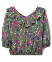 Crazy 8 Olive Green Floral Ruffle Top
