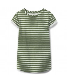 Crazy 8 Olive Green /White Stripe T-Shirt Dress  Little Girl