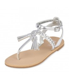Children's Place Silver Metallic Tassel Sandal