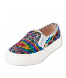 Childrens Place Multi-Color Flip Sequin Slip On Sneaker