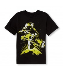 Childrens Place Black With Lemon Greeen Skater Astronaut Graphic Tee