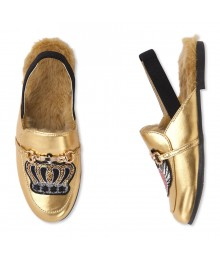 Childrens Place Gold Sequin Patch Faux Leather Slingback Loafer  Shoes