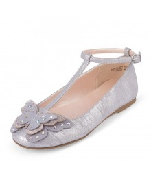 Childrens Place Metallic Butterfly T-Strap Ballet Flat
