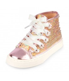 Childrens Place Rose Gold With White Lace Hi-Top  Flip Sequin  Sneaker  Shoes