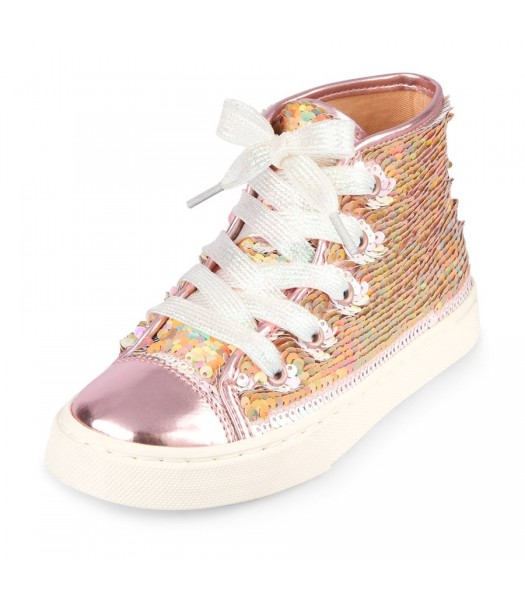 Childrens Place Rose Gold With White Lace Hi-Top  Flip Sequin  Sneaker