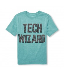 Childrens Place Green Tech Wizard Graphic Tee